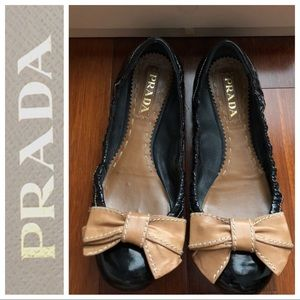 PRADA black patent leather elastic bow flats shoes